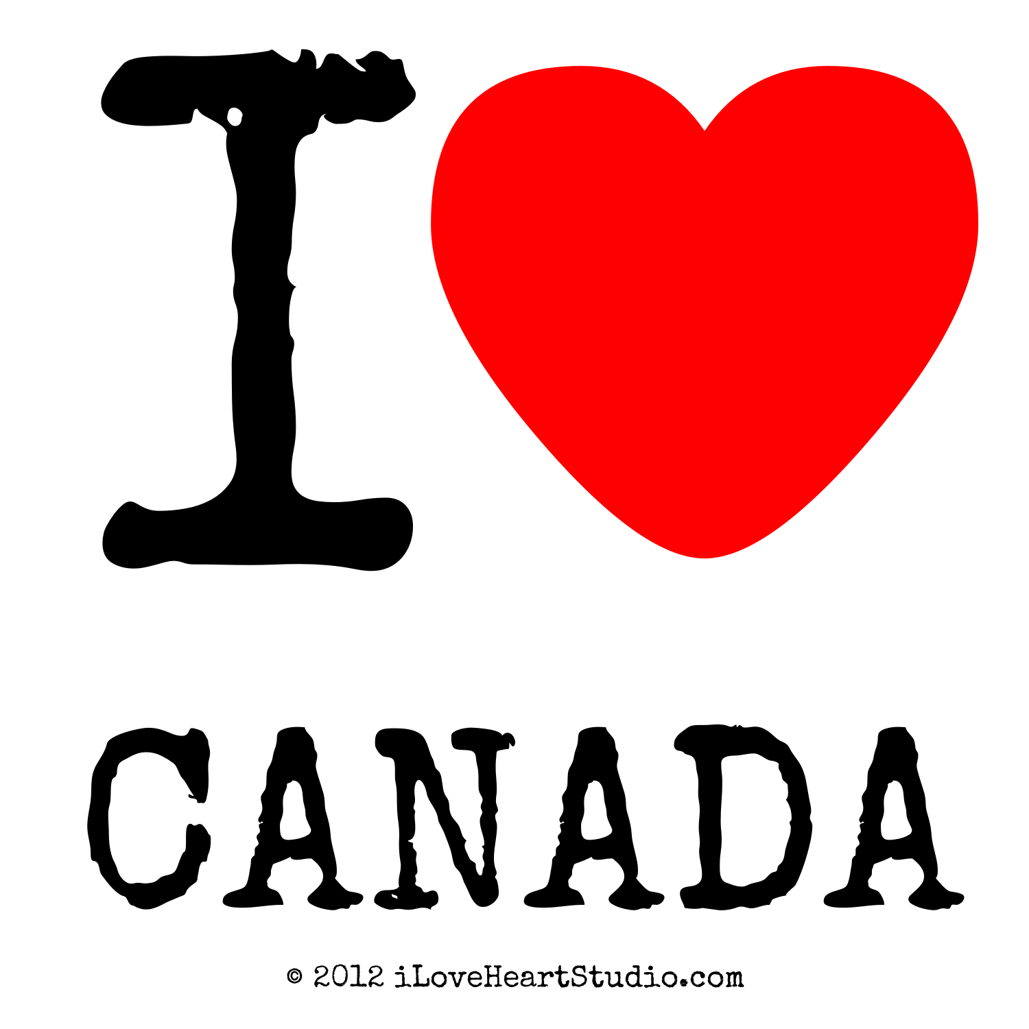Heart Touching Qua: I Love Heart Canada Design On Poster, Mug, T-shirt And
