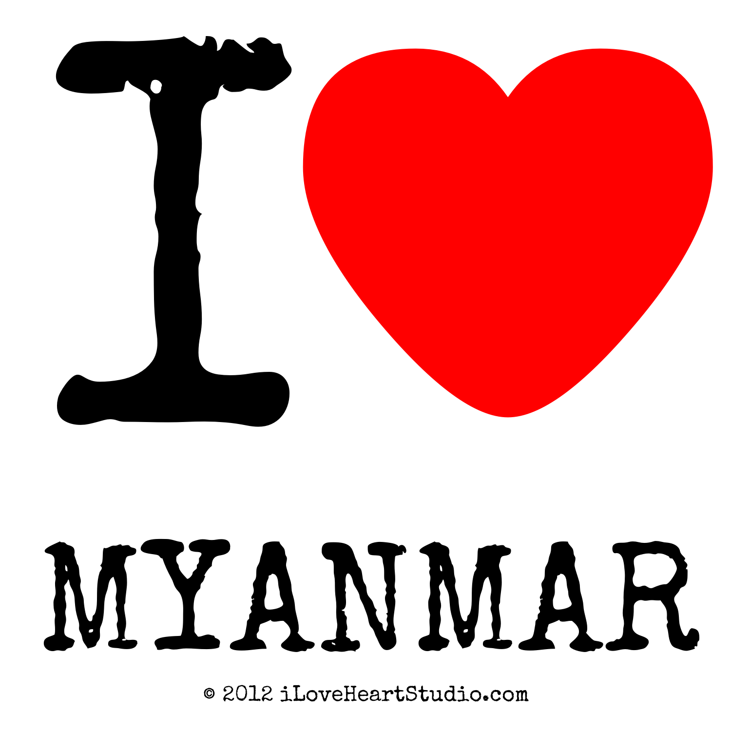 I Love Heart Myanmar Design On Poster Mug T Shirt And